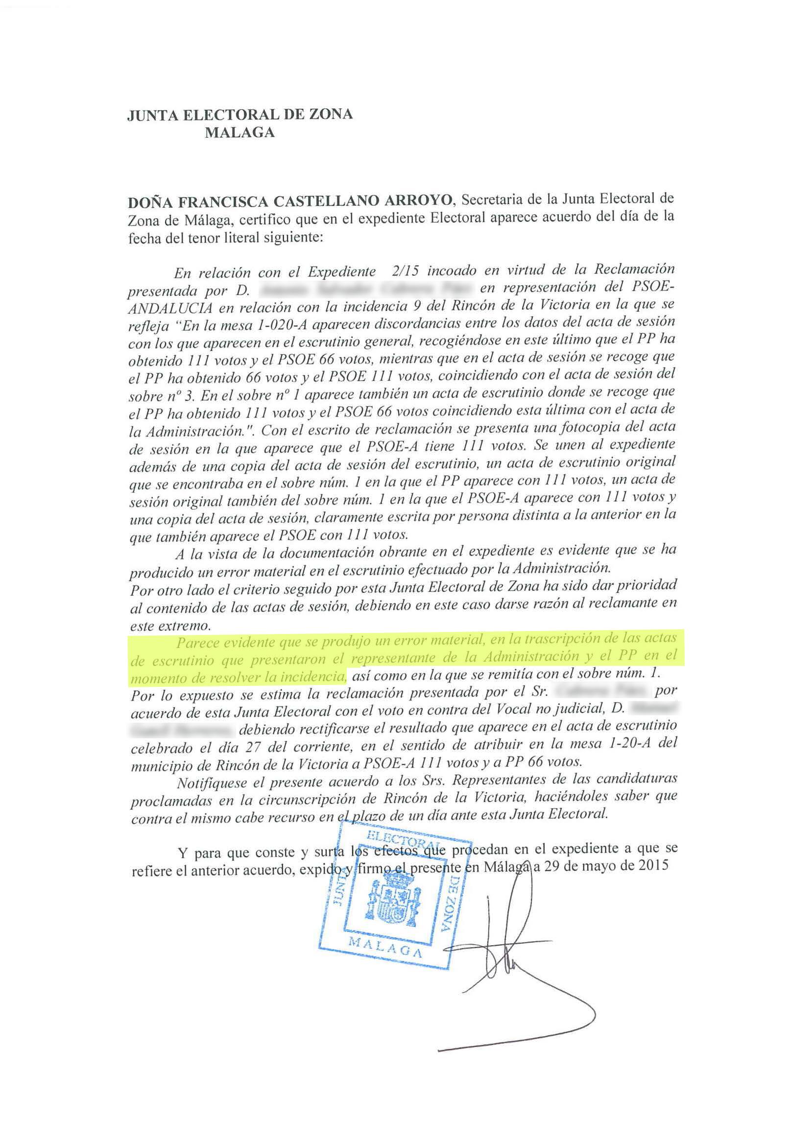 Arrinconados Resolución del PSOE