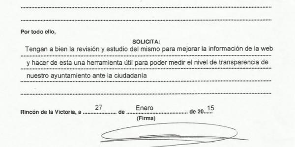 Informe de valoración en relación al cumplimiento de la Ley 19/2013 de transparencia de la web municipal (27-01-2015)