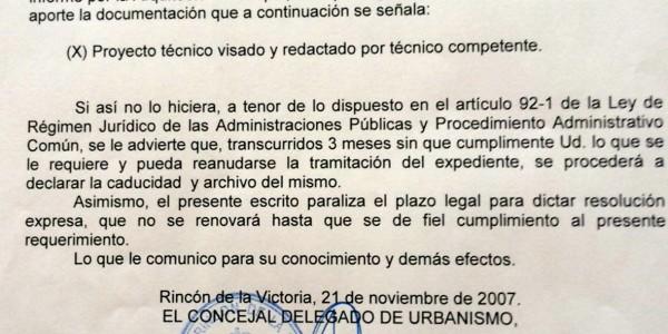 Solicitud del informe técnico en 2007.