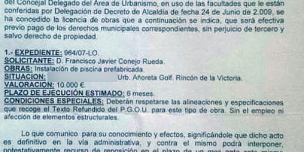 Concesión de la licencia de obras en 2009.