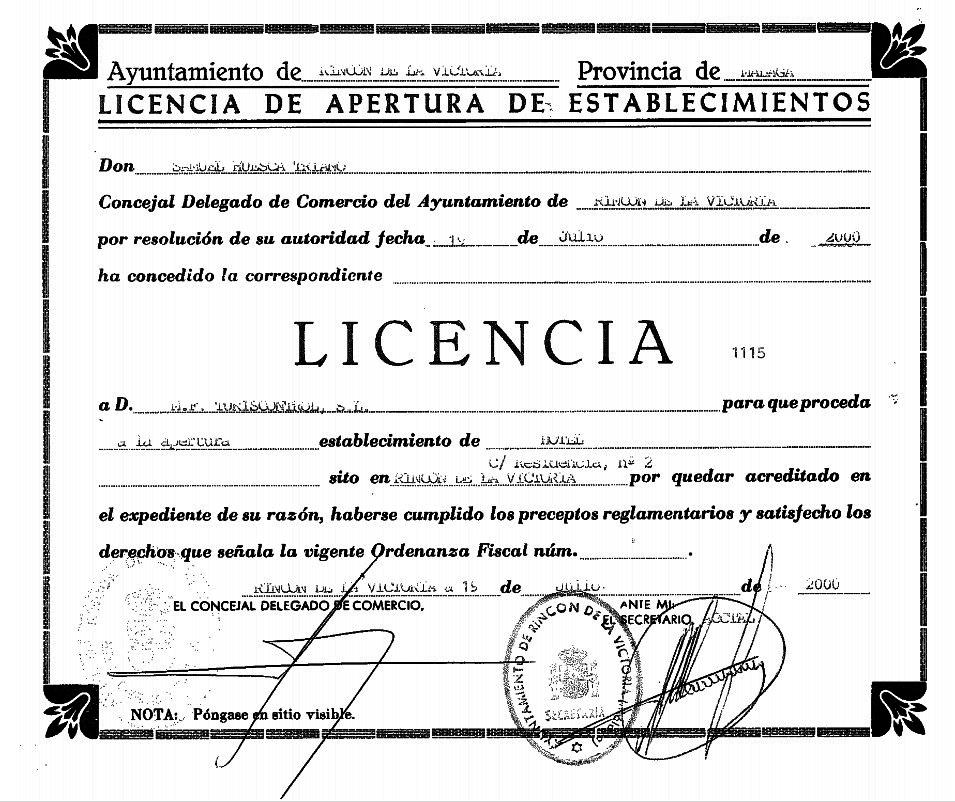 Arrinconados Licencia de hotel